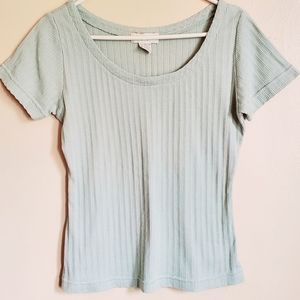 Express Tricot Knit Ribbed Scoop Neck Tee
